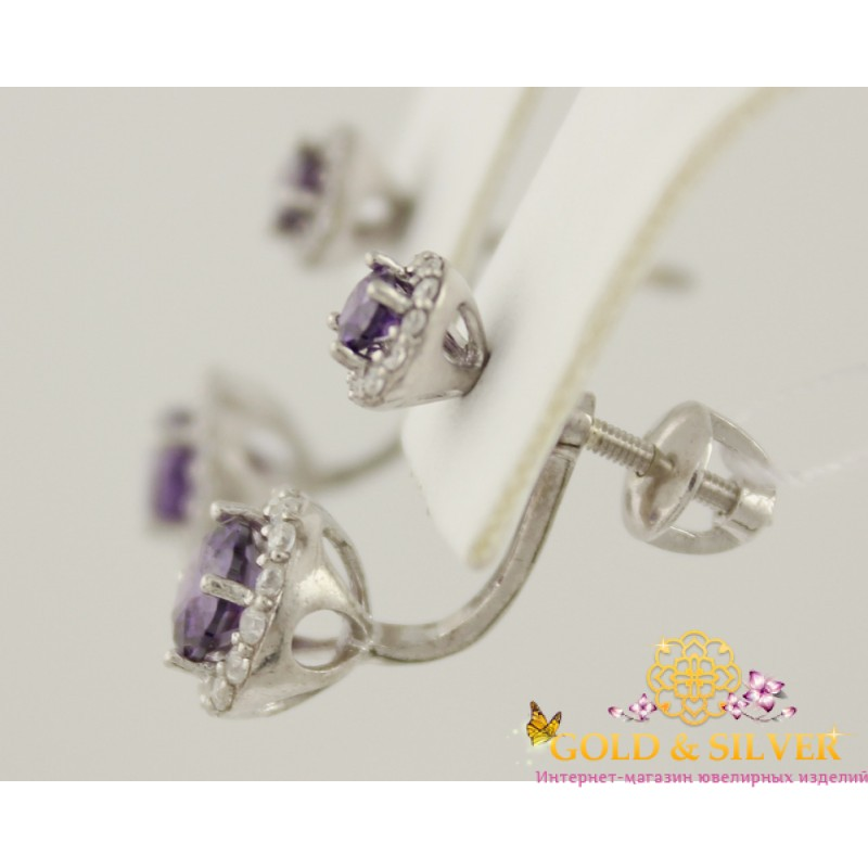 17220e403c68 Купить Серебряные серьги Нежинка с фиолетовым камнем. 2432 9р ...