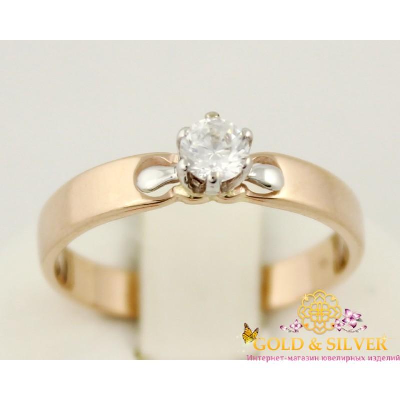 Золотое кольцо для помолвки с одним камнем с красного и белого золота.  330193 5d92f2b717a