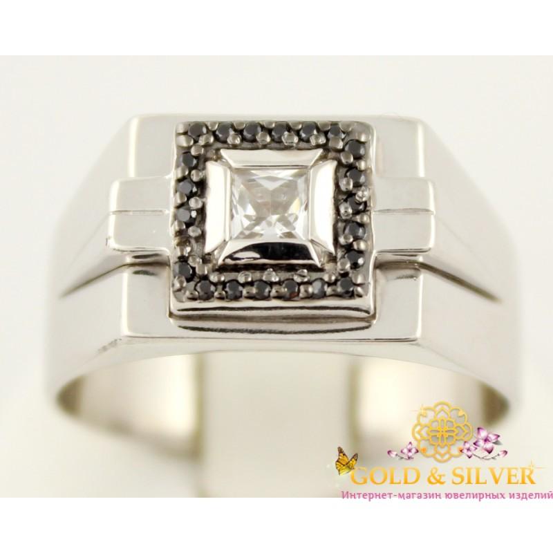 Серебряное кольцо 925 проба. Мужской перстень с черными камнями. 330927с 4369203600c36