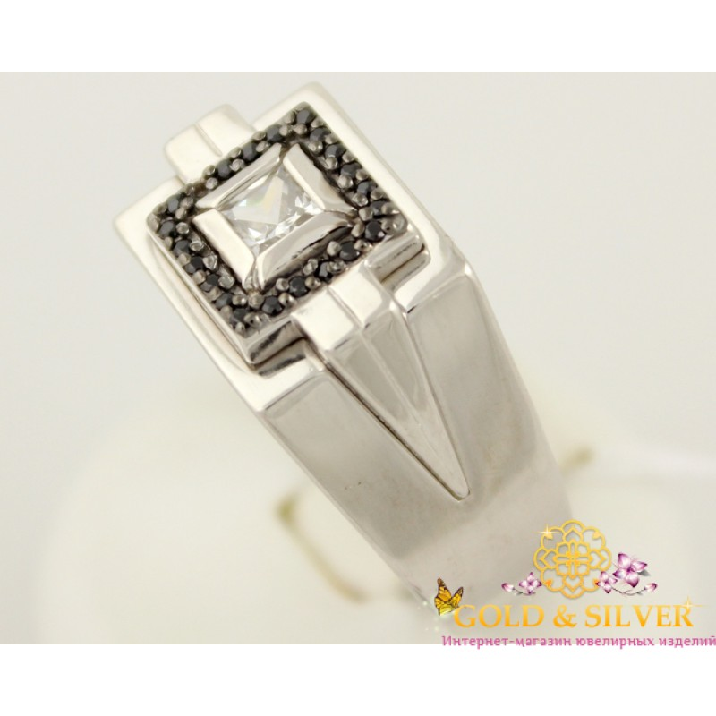 2ce252f01ec3 Серебряное кольцо 925 проба. Мужской перстень с черными камнями. 330927с