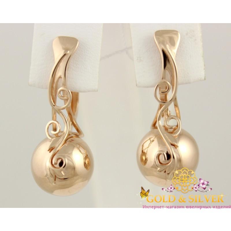 Купить Золотые серьги шары с узором 410060! Лучшая цена в лучшем ... 6e243db8269
