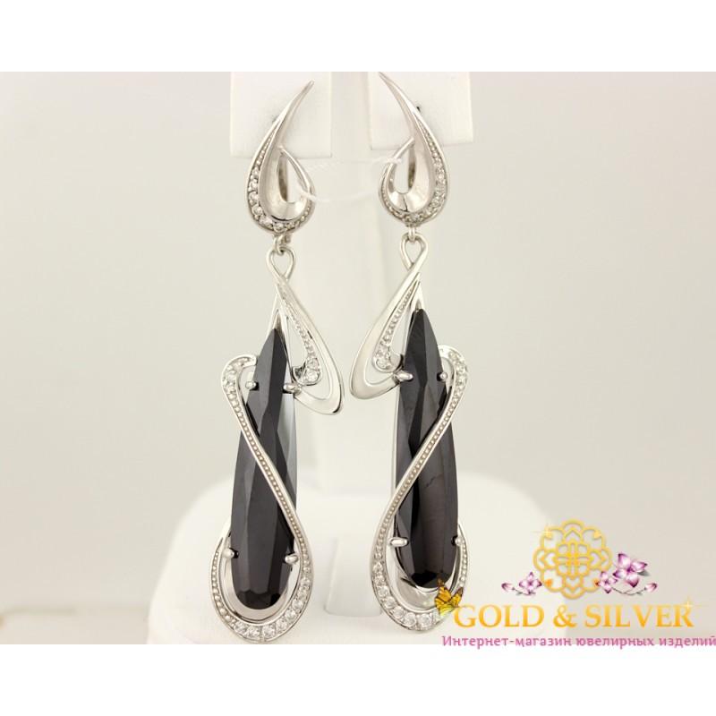 3931707101b1 Купить Серебряные серьги с черным камнем, длинные. 430719с! Лучшая ...